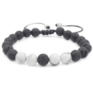 Chegada Nova 8MM Lava Rock encanto bracelete pulseiras mulheres Branco Turquesa Natural de pedra com cercadura Bangle Para Mens Jewel artesanal ajustável