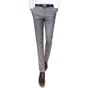 2019 Men's clothing suit trousers  Male high-grade pure color slim Fit business Suit pants Male high-end leisure thin leg pants