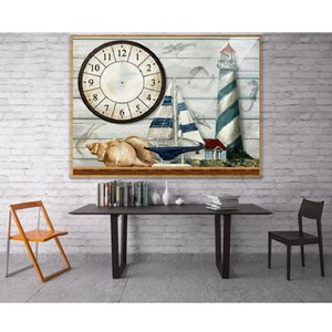 wholesale Diamond Painting Boat Pattern Wall Clock Diamond Embroidery Full & Round 3D Cross Stitch Crystal Picture Home Decor Clock