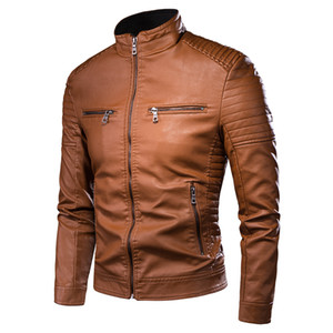 Men Autumn New Motorcycle Vintage Leather Jacket Coat Men Fashion Casual Biker Zipper Pocket Design Quality PU Leather Jacket Men
