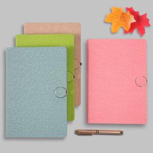 A5 Quadrados Buckle linho PU Notebook multi 200 páginas simples Notebook Notas Bloco de notas Escritório Escola Fontes HA669