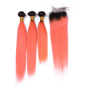 Orange Human Hair Weaves Straight Hair Bundles With Lace Closure Ombre Virgin Malaysian Hair Extension and Dark Roots Lace Closure