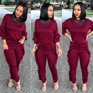 Panelled Solid Color Ruffle Clothing Sets Fashion Spring Casual Tracksuits Woman Designer Slim Suit 2pcs Sets
