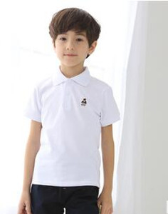Children's and boys' white short sleeve T-shirt pure cotton medium and large children's solid color Polo Shirt Top pupils' T-shirt wl1259