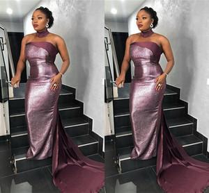 Halter brillante atractiva púrpura de la sirena de lentejuelas vestido de fiesta de la vendimia Vestido de noche de lujo de África formal del partido del tamaño vestidos de noche Plus