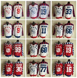 CCM Hockey All 2016 Star 30 Ed Belfour Maglie Vintage Rosso Bianco Cucito 19 Joe Sakic 68 Jaromir Jagr Ray Bourque Brett Hull