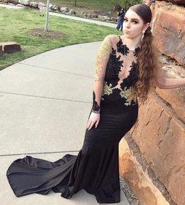 Nero Prom Dresses oro con Appliques maniche lunghe Mermaid Partito abiti Jersey Vestido Formatura