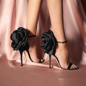Zapatos mujer de la flor de Europa y América del estilo grande de la flor de las sandalias zapatos de noche Discoteca Negro tacones altos de las sandalias