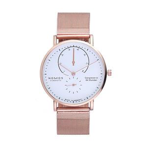 New DWELLERS NOMOS 쿼츠 아트 모스 시계 데이트 연인 시계 여성 남성 드레스 시계 가죽 선물 드레스 손목 시계 패션 캐쥬얼 시계