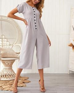 Casual capris Vêtements Femme Mode Designer Jumpsuit Solid Button ras du cou Lin Blend barboteuses Femme