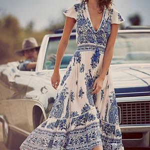 Venta caliente atractiva de las mujeres con cuello en V vestido maxi de Boho del verano de la playa floral del cóctel largo Vestido de tirantes