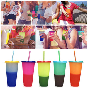 700ml Plastic Reusable Color change Cup with Lids Beach Party Travel Ice Coffee Mugs Water Bottle with Straw Set Famliy XmasGift
