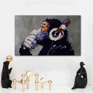 1 Panel Wall Art 인쇄 캔버스 페인팅 Thinking Monkey Animated Painting 거실 용 재미있는 고릴라 그림 프레임 없음