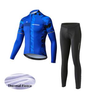 2021 Merida Erkekler Uzun Kollu Termal Polar Bisiklet Giyim Kış Bisiklet Jersey Önlüğü / Pantolon Seti MTB Bisiklet Giymek Ropa Ciclismo Maillot 122718Y