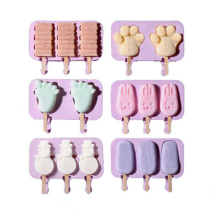 Silicone Ice Cream Moule Popsicle Moules bricolage maison Cartoon Ice Cream Ice Mold Maker Avec 50 bâton en bois JK2006XB