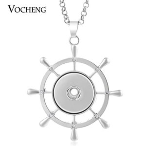 NOOSA Rudder Button Pendant Necklace Fit 18mm Snap Charm with Stainless Steel Chain NN-406