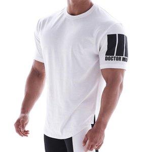 Yaz Yeni Erkek Spor Salonları Elastik spor gömlek erkek pamuk Spor Koşu Tişörtlü Erkek büyük ölçekli kısa kollu spor salonları Tişörtlü