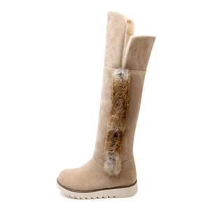 Venda quente-TAOFFEN De Pelúcia Tamanho 34-43 Mulheres Botas de Neve Na Altura Do Joelho Botas Com Flats Sapatos de Inverno Frio Quente Botas de Pele Longa Mulheres Calçados