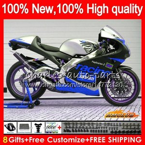 Комплект для Aprilia синий серебристой RS125R RSV125 R RS 125 RSV125R 70NO.81 RS125 1999 2000 2001 2003 2004 2005 RS125 00 01 99 02 03 04 05 обтекателя