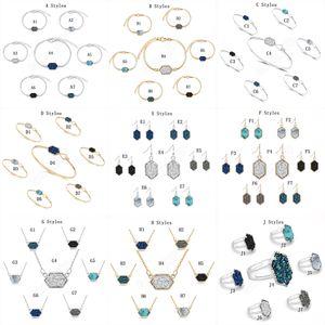 14 Art Druzy Stein Halskette Ohrringe Armband-Ringe für Frauen Geometrische Naturstein Designer Luxuxschmucksachen