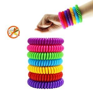 Natürlicher Mückenschutz Armband elastische Spiral ELEFON Coil Ring-Haar-Seil Anti-Moskito-Armband Wrist Bunt HHA1281