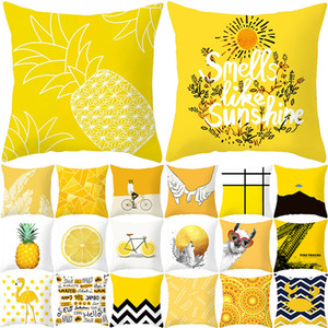 Polyester Fiber Nordic Yellow Geometry Pillow Cover Sofa Cushion Home Decorative Pillows Cover