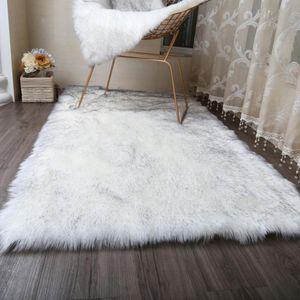 MUZZI Hairy Teppiche 2020 Neue Schaffell-Plain-Pelz-Haut Fluffy Schlafzimmer Faux Mats Waschbar Artificial Textil-Area-Platz Teppiche