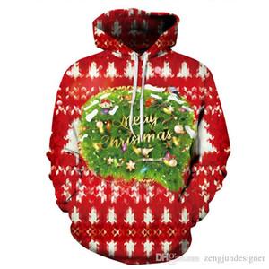 Frauen Winter-Designer Hoodies 3D Christmas Print Pullover Langarm-Paar Kleidung Mode-Art-beiläufige Aparel