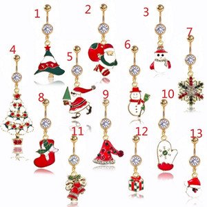 DS8 New Christmas anello ombelico piercing corpo donna rosso Piercing gioielli strass albero Navel bar acciaio 14G