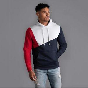 Mens Fitness Hoodie Sportswear Autumn Hooded With Patchwork Hoodies Hip Hop Fashion Hoodie Streetwear Sweatshirt Gyms Hoodie Men