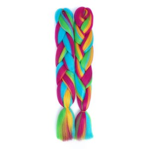 24inch Long Synthetic Crochet inter color Jumbo Braid 100g pc Ombre Pink Purple Blue Blonde Braiding Hair Extension