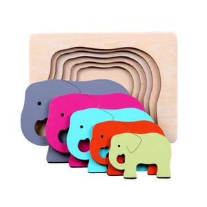 Quebra-cabeças 3D animal de Candywood Crianças de madeira Tamanho Gradiente de cor Multi-camada enigma Crianças Brinquedos Educativos MX200414