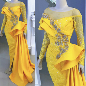 Neue Ankunfts-Arabric Nixe-Abschlussball-Abend-Kleider gelbe Spitze mit langen Ärmeln Spitze Strass Lange Günstige Formal Pageant Kleider Großhandel Gewohnheit