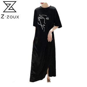 Z-ZOUX платье женщин хлопка T Shirt платье Печать Половина рукава длинное платье Твердая Split Девушки Сыпучие Досуг Летние платья 2020 MX200518