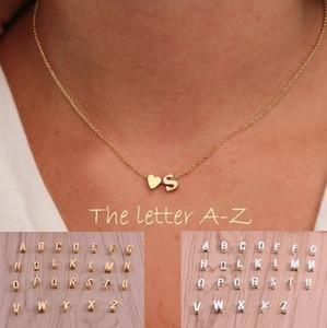 26 letras suéter largo cadena gargantilla collares pequeño amor corazón colgantes para mujer collar de cadena pandora