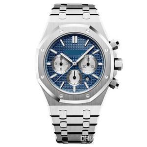 Mens montre à quartz VK chronographe mouvement montres en acier inoxydable verre saphir mode masculine 42mm montre-bracelet