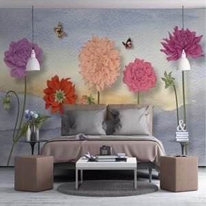3d fresh garden flowers wallpaper Nordic style living room sofa background wallpaper bedroom elegant art murals