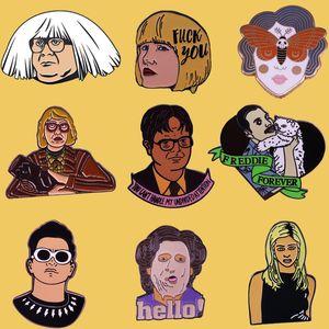 SP042 Tv Show Office Metal Pins Twin Peaks Enamel Brooches for Women Men lapel pin Backpack Cartoon Figure Badge Denim Pins