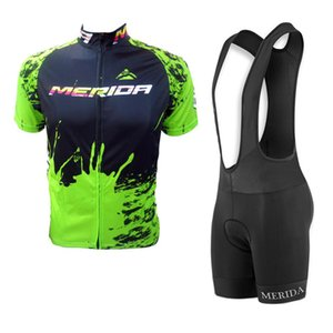 2019 merida 팀 사이클링 저지 정장 MTB 자전거 셔츠 턱받이 반바지 세트 Bicicleta Maillot 남자 사이클링 의류 레이싱 자전거 운동복 Y032706