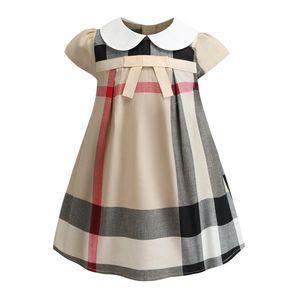 Famosa marca de tela escocesa para niños ropa cap mangas de verano niña ropa de una línea de vestidos de princesa dress vestidos envío gratis