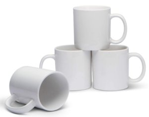White Large Classic Mugs for Coffee or Tea. Large Handle and Heavy Duty Construction, Set of 4 Customizable pattern