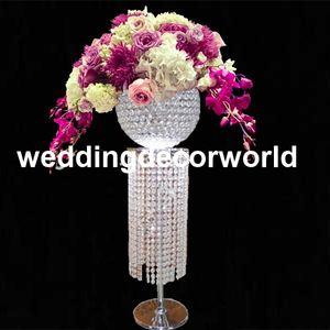 Lattest Boda de oro o astilla de centro Artificial arreglos de flores de pie Tall Flower Holder decoración pieza central jarrones decor208