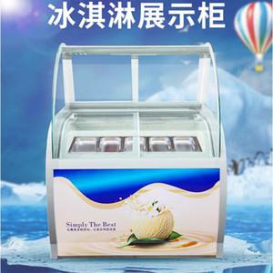 dondurma vitrin cam gıda Dondurucu manuel popsicle vitrin 10 yuvarlak varil veya 12 Kare varil dondurma ekran cabi