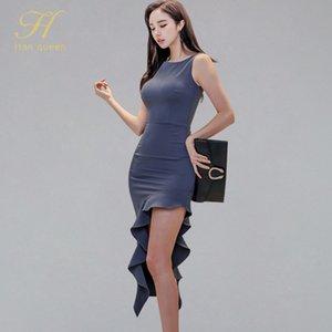 H Han Queen нерегулярное элегантное офисное платье Летнее женское платье шифон простой рукавов рябить щедрый карандаш
