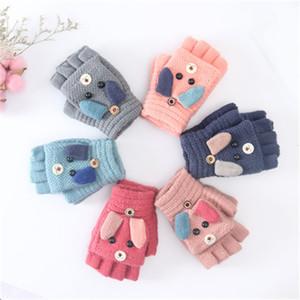 Дети половины пальца флипа перчатка мультфильм кролик Теплого Matching флип двойного назначение перчатка девушка сгущаться теплой шерсть трикотажных перчатки 6 цвета