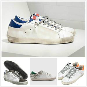 Ouro Sneakers clássica Branca Do-idade Homem Mulheres Itália de luxo da marca Lantejoula sujo Shoes Designer Superstar Plano calçados casuais caixa Original