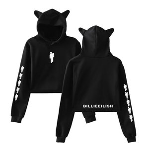 Singer Billie Eilish Cat Streetwear Hoodies Sweatshirt Casual Women Hooded Pullover Long Sleeve Sport Hip Hop Hoodie Top Clothe