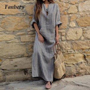 Femmes Fanbety Vintage coton poche lin robe d'été Sexy col en V Kaftan robe à manches longues rayé élégant longue Maxi robe Boho