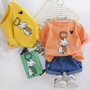 Children Costume Soft Denim Pants Printed Top Toddler Summer Clothes for Girls Boys Outfit O-neck T-shirt with Shorts 2pcs