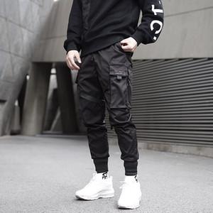 Pantalones de carga de bolsillo Septhydrogen Marca Moda Hombres cintas bloque del color Negro Harem Joggers Harajuku SWEATPANT Hip Hop Pantalones